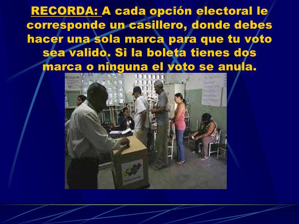 RECORDA: A cada opción electoral le corresponde un casillero, donde debes hacer una sola marca para que tu voto sea valido. Si la boleta tienes dos ma