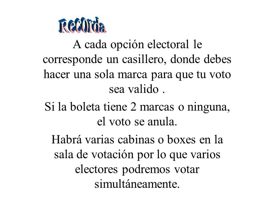 A cada opción electoral le corresponde un casillero, donde debes hacer una sola marca para que tu voto sea valido.