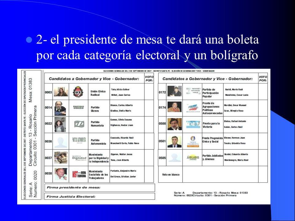 2- el presidente de mesa te dará una boleta por cada categoría electoral y un bolígrafo