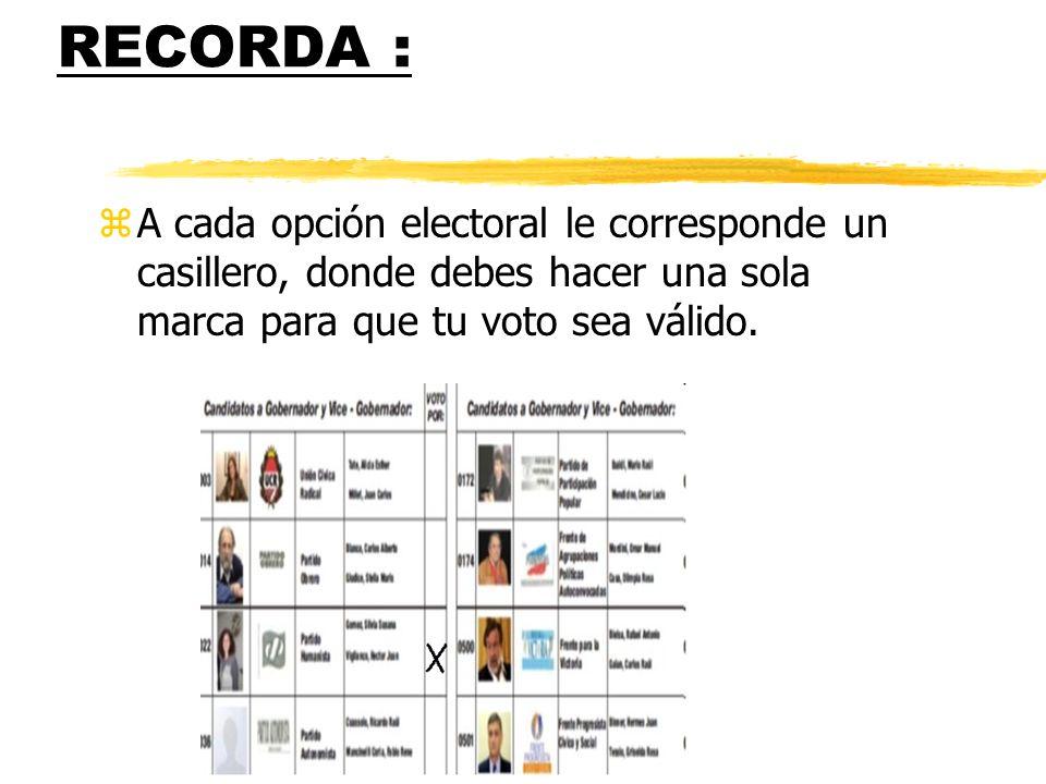RECORDA : zA cada opción electoral le corresponde un casillero, donde debes hacer una sola marca para que tu voto sea válido.