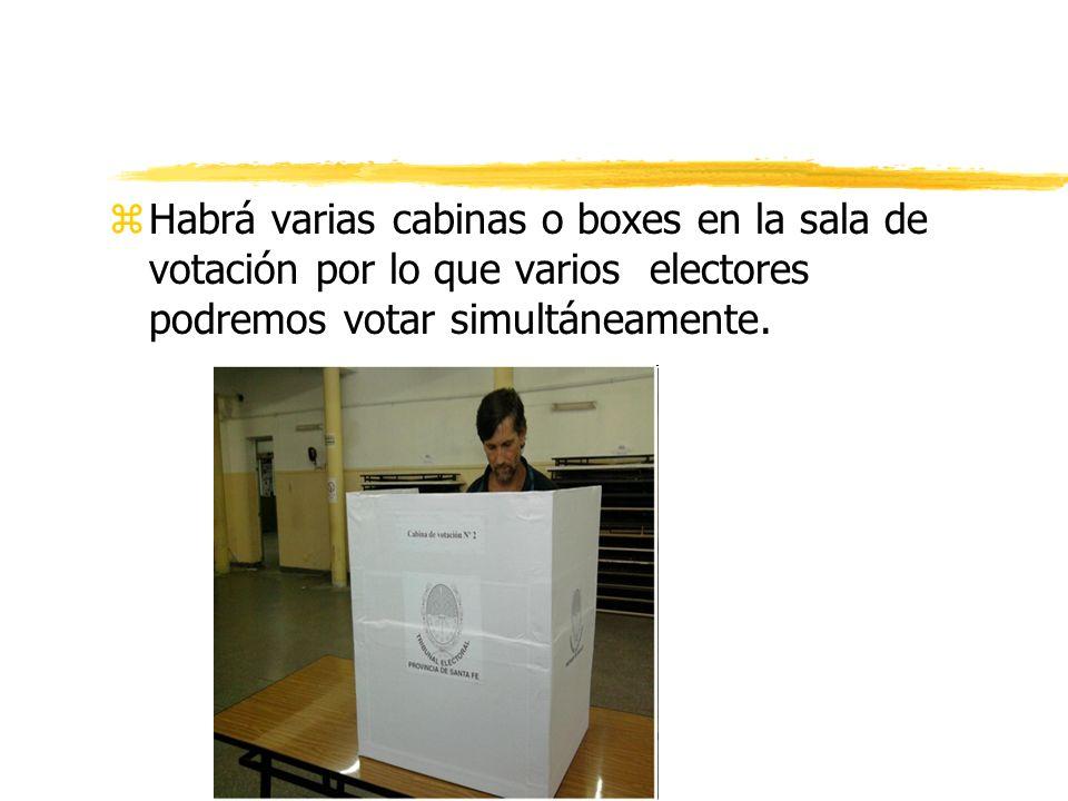 zHabrá varias cabinas o boxes en la sala de votación por lo que varios electores podremos votar simultáneamente.