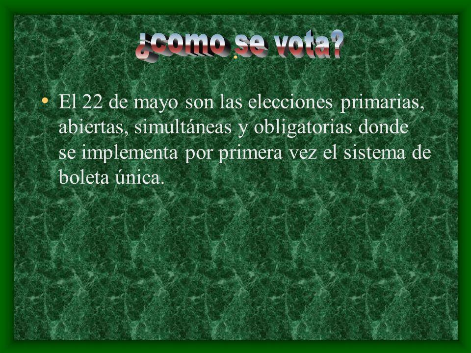 . El 22 de mayo son las elecciones primarias, abiertas, simultáneas y obligatorias donde se implementa por primera vez el sistema de boleta única.