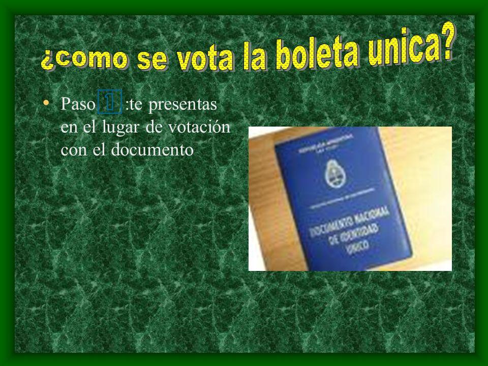 Paso :te presentas en el lugar de votación con el documento