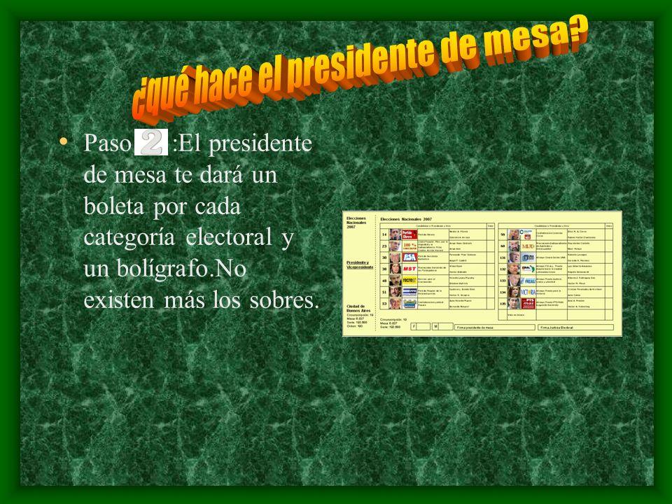 . Paso :El presidente de mesa te dará un boleta por cada categoría electoral y un bolígrafo.No existen más los sobres.