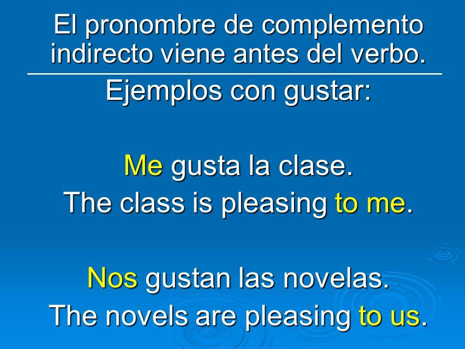 El pronombre de complemento indirecto viene antes del verbo. Ejemplos con gustar: Me gusta la clase. The class is pleasing to me. Nos gustan las novel