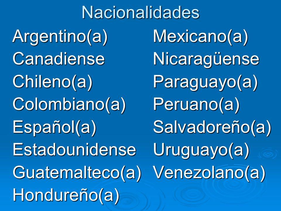 Nacionalidades Argentino(a)Mexicano(a) CanadienseNicaragüense Chileno(a)Paraguayo(a) Colombiano(a)Peruano(a) Español(a)Salvadoreño(a) EstadounidenseUruguayo(a) Guatemalteco(a)Venezolano(a) Hondureño(a)