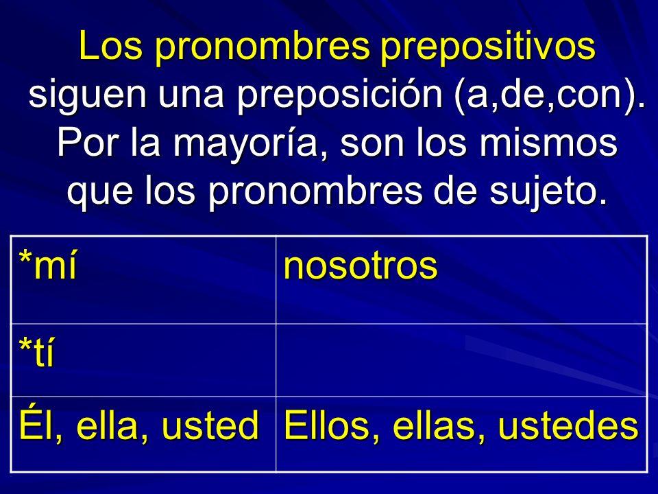 Los pronombres prepositivos siguen una preposición (a,de,con). Por la mayoría, son los mismos que los pronombres de sujeto. *mínosotros *tí Él, ella,