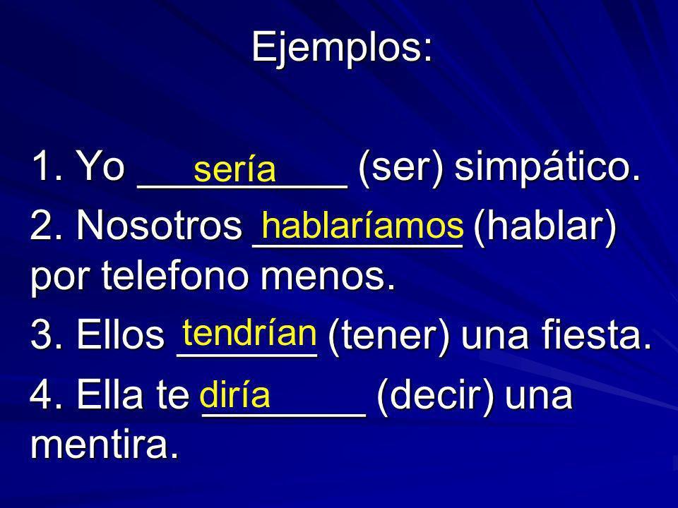 Ejemplos: 1. Yo _________ (ser) simpático. 2. Nosotros _________ (hablar) por telefono menos.