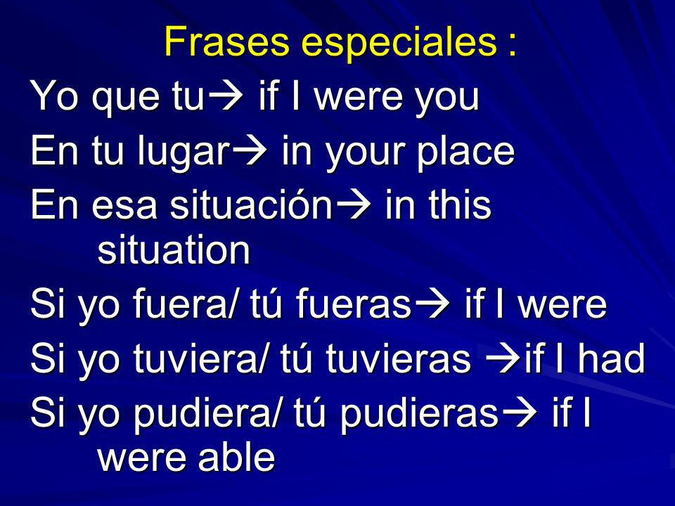 Frases especiales : Yo que tu if I were you En tu lugar in your place En esa situación in this situation Si yo fuera/ tú fueras if I were Si yo tuviera/ tú tuvieras if I had Si yo pudiera/ tú pudieras if I were able