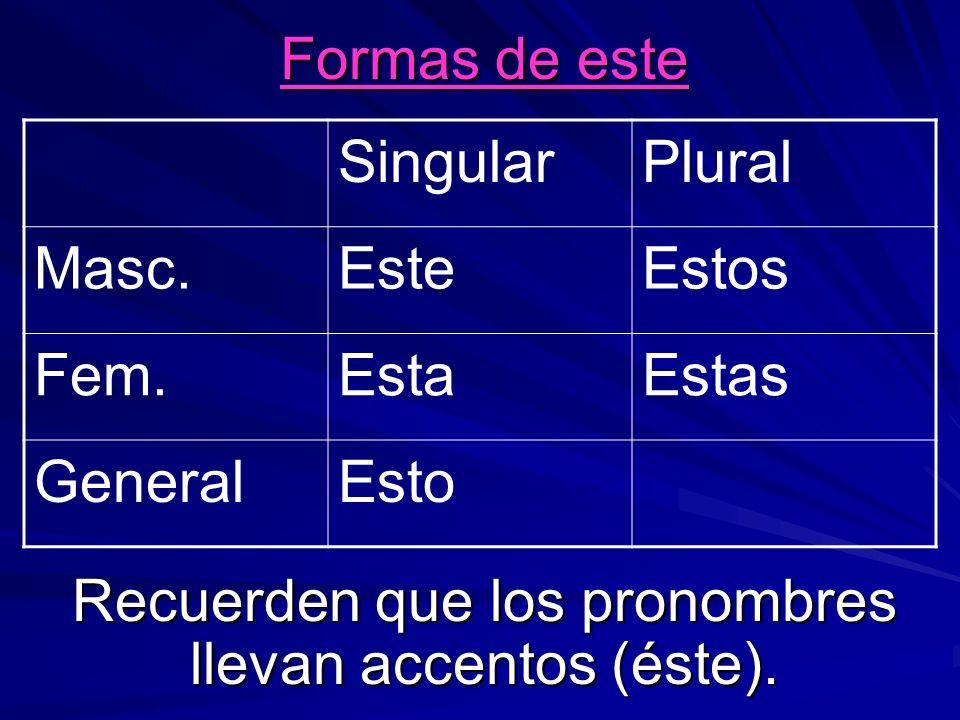 Formas de este Recuerden que los pronombres llevan accentos (éste). SingularPlural Masc.EsteEstos Fem.EstaEstas GeneralEsto