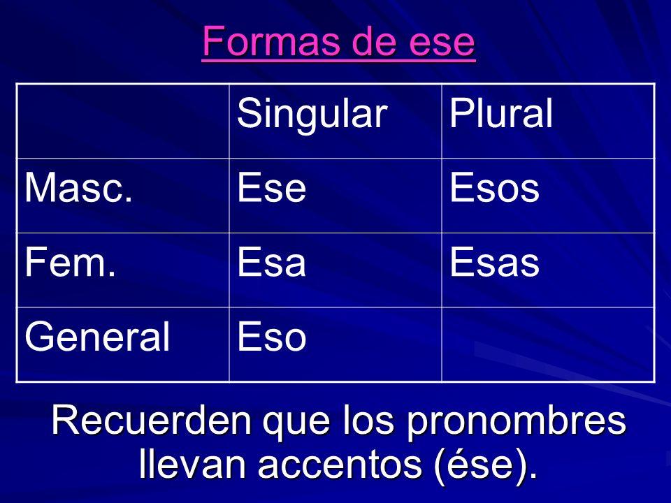 Formas de ese Recuerden que los pronombres llevan accentos (ése). SingularPlural Masc.EseEsos Fem.EsaEsas GeneralEso