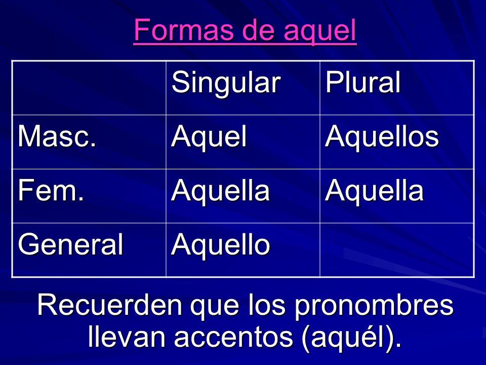 Formas de aquel Recuerden que los pronombres llevan accentos (aquél). SingularPlural Masc.AquelAquellos Fem.AquellaAquella GeneralAquello