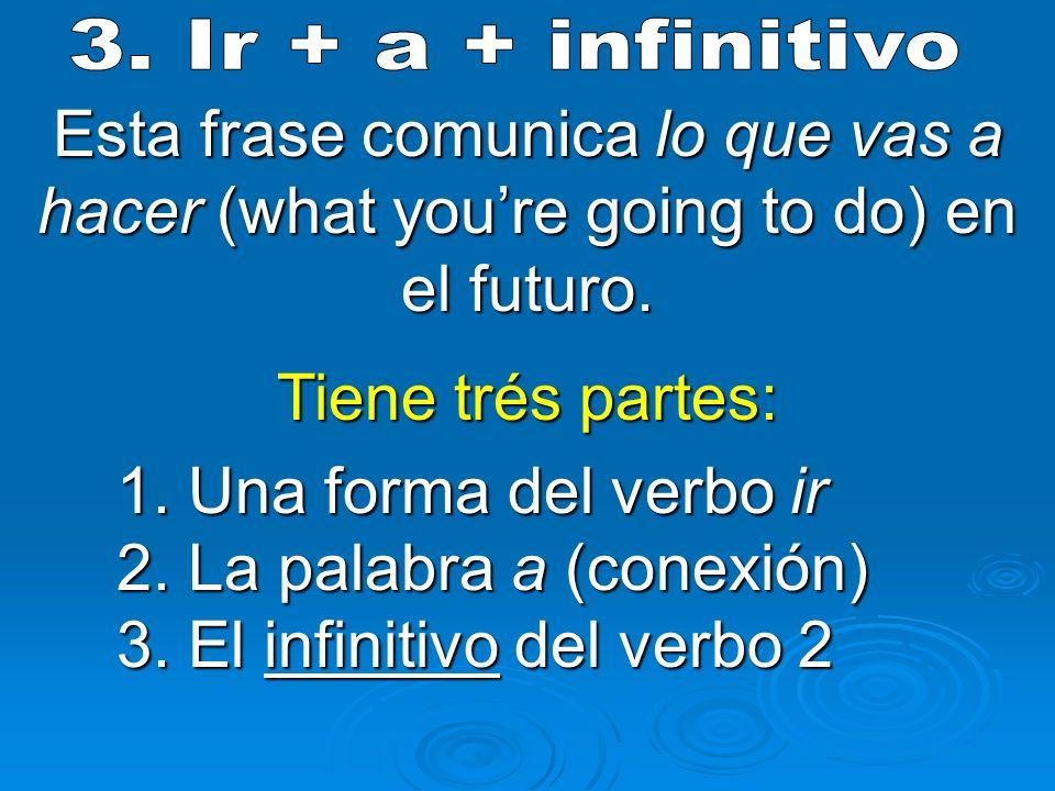 Esta frase comunica lo que vas a hacer (what youre going to do) en el futuro. Tiene trés partes: 1. Una forma del verbo ir 2. La palabra a (conexión)