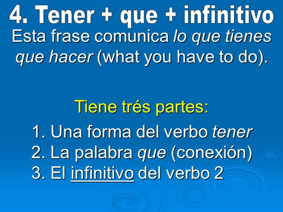 Esta frase comunica lo que tienes que hacer (what you have to do). Tiene trés partes: 1. Una forma del verbo tener 2. La palabra que (conexión) 3. El