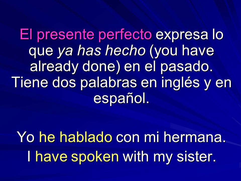 El presente perfecto expresa lo que ya has hecho (you have already done) en el pasado. Tiene dos palabras en inglés y en español. Yo he hablado con mi