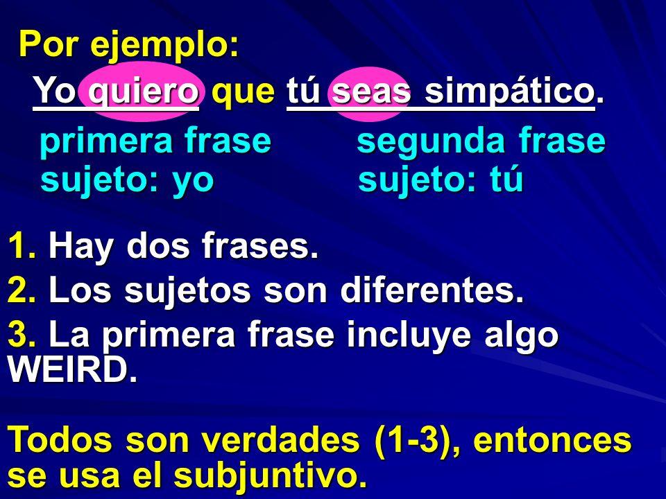 Si todos (1-3) no son verdades, no se usa el subjuntivo.