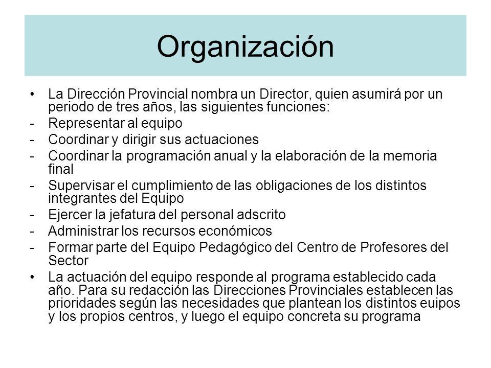 Organización La Dirección Provincial nombra un Director, quien asumirá por un periodo de tres años, las siguientes funciones: -Representar al equipo -