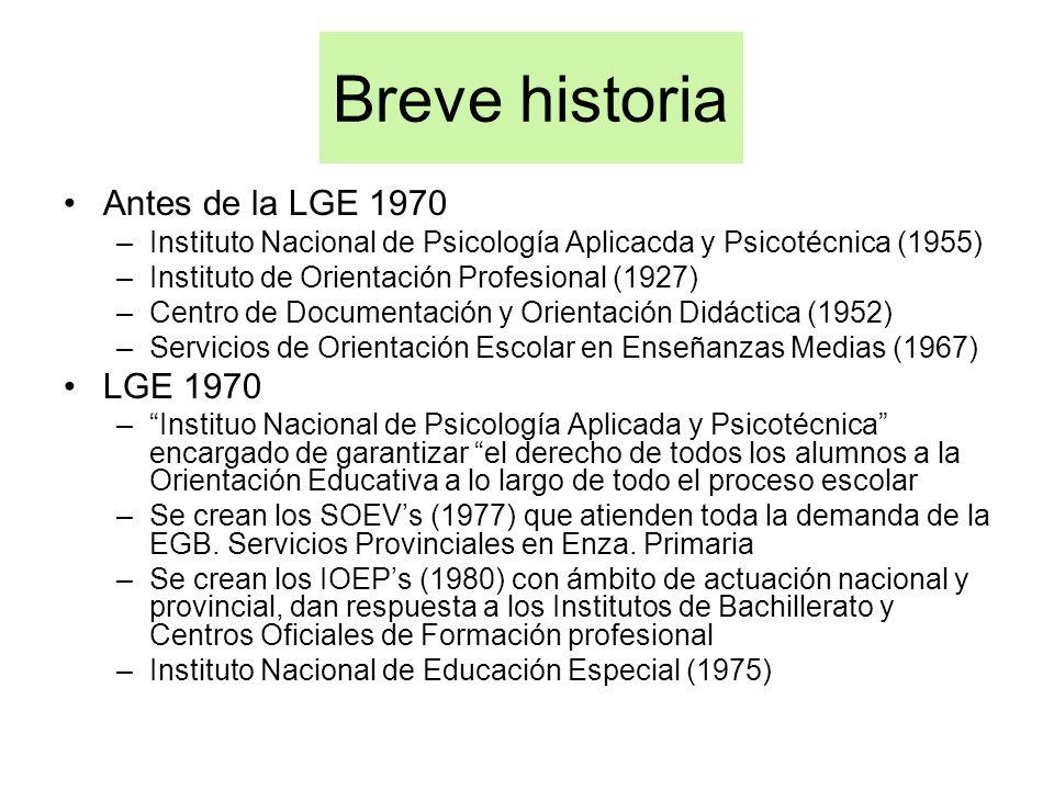 Breve historia Antes de la LGE 1970 –Instituto Nacional de Psicología Aplicacda y Psicotécnica (1955) –Instituto de Orientación Profesional (1927) –Ce