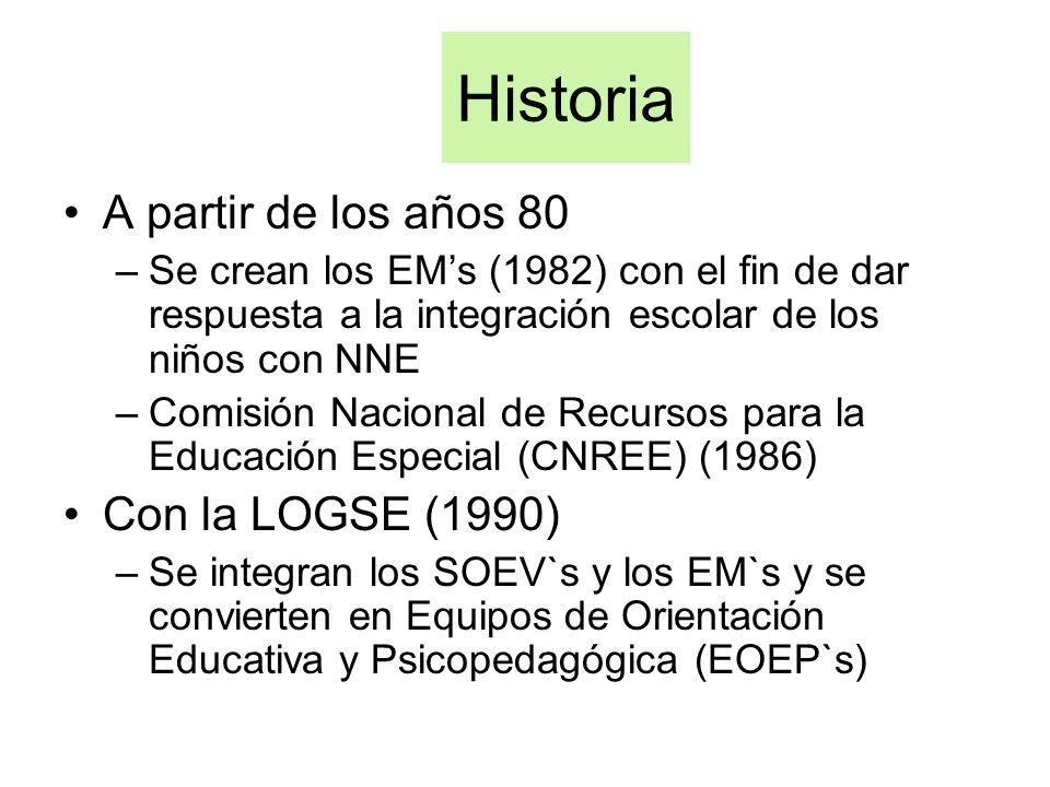 Historia A partir de los años 80 –Se crean los EMs (1982) con el fin de dar respuesta a la integración escolar de los niños con NNE –Comisión Nacional