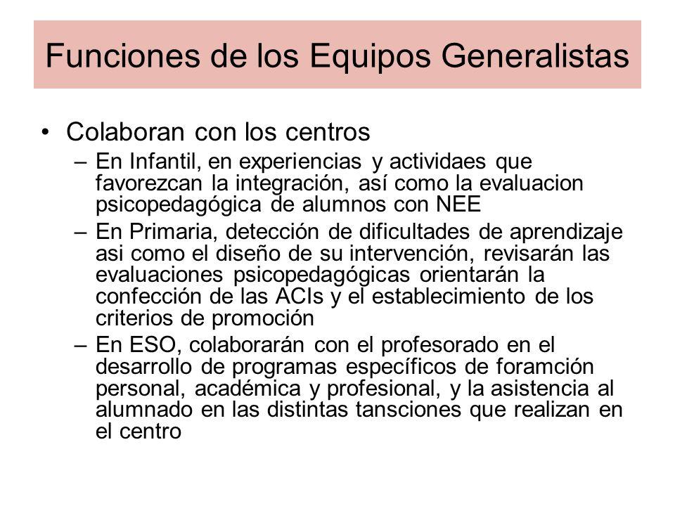 Funciones de los Equipos Generalistas Colaboran con los centros –En Infantil, en experiencias y actividaes que favorezcan la integración, así como la