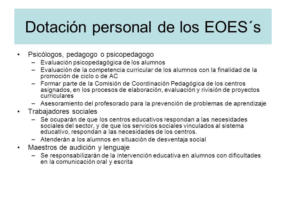 Dotación personal de los EOES´s Psicólogos, pedagogo o psicopedagogo –Evaluación psicopedagógica de los alumnos –Evaluación de la competencia curricul