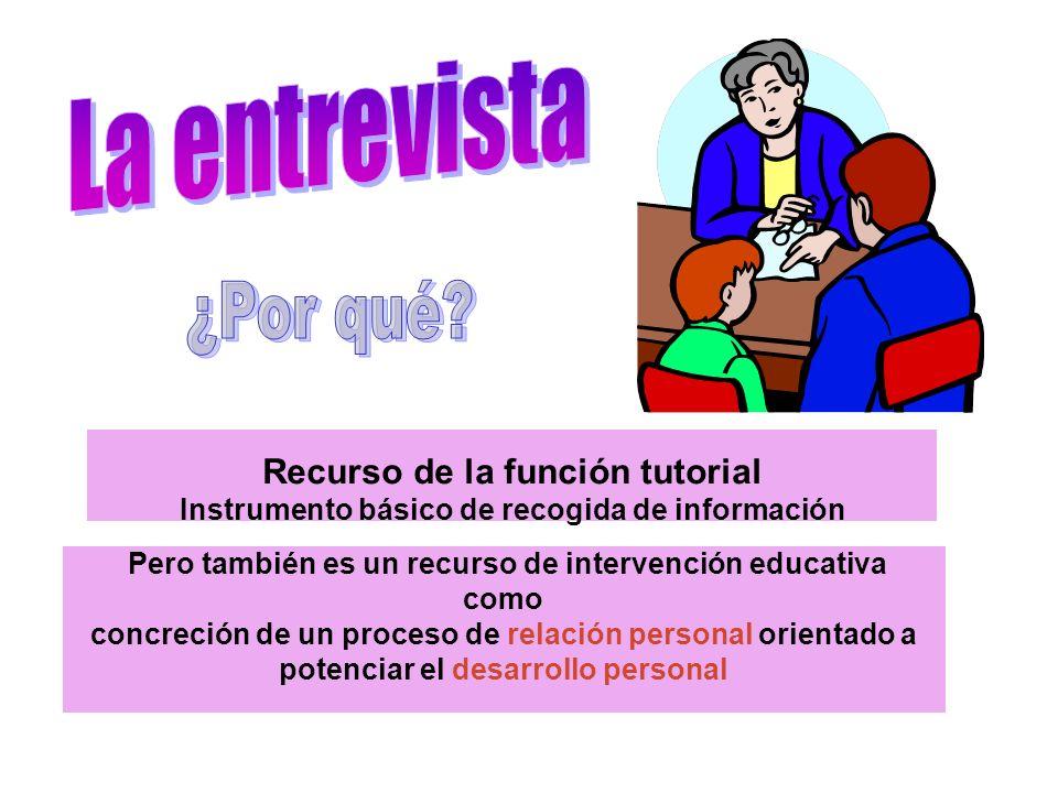 Recurso de la función tutorial Instrumento básico de recogida de información Pero también es un recurso de intervención educativa como concreción de u