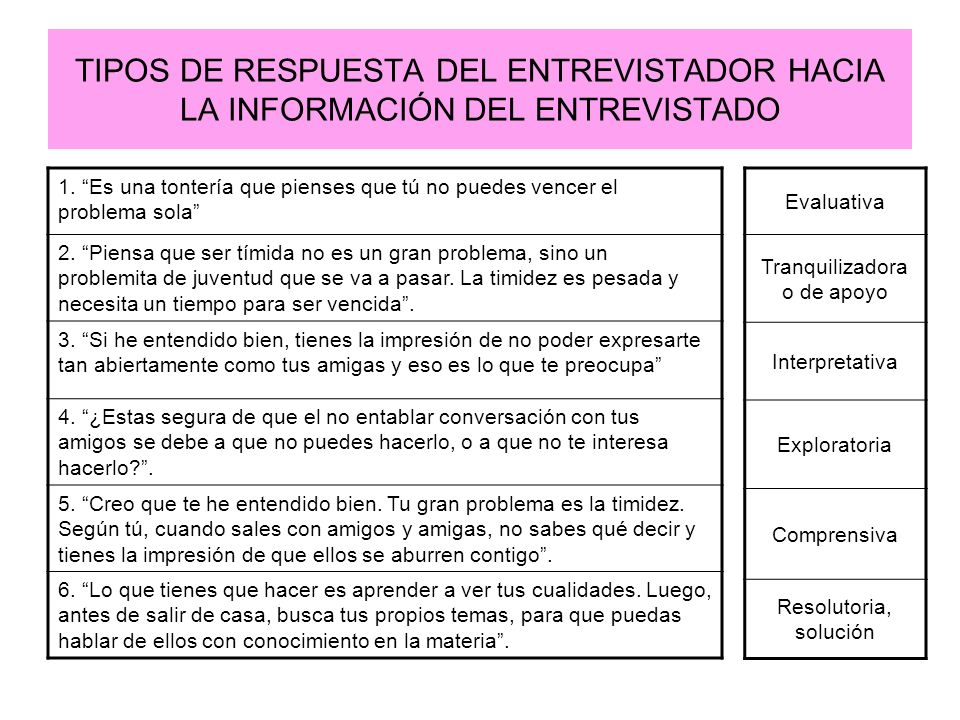 TIPOS DE RESPUESTA DEL ENTREVISTADOR HACIA LA INFORMACIÓN DEL ENTREVISTADO Evaluativa Tranquilizadora o de apoyo Interpretativa Exploratoria Comprensi