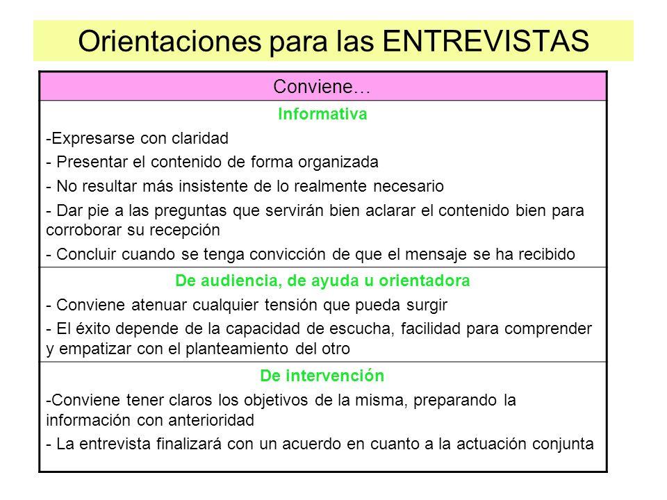 Orientaciones para las ENTREVISTAS Conviene… Informativa -Expresarse con claridad - Presentar el contenido de forma organizada - No resultar más insis