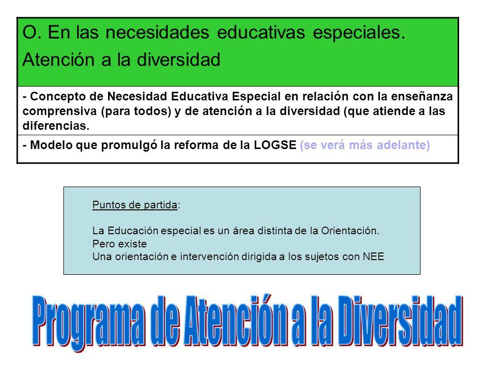 Puntos de partida: La Educación especial es un área distinta de la Orientación. Pero existe Una orientación e intervención dirigida a los sujetos con