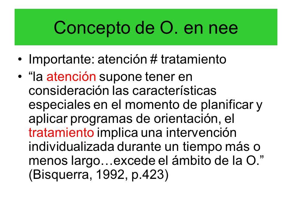Concepto de O. en nee Importante: atención # tratamiento la atención supone tener en consideración las características especiales en el momento de pla