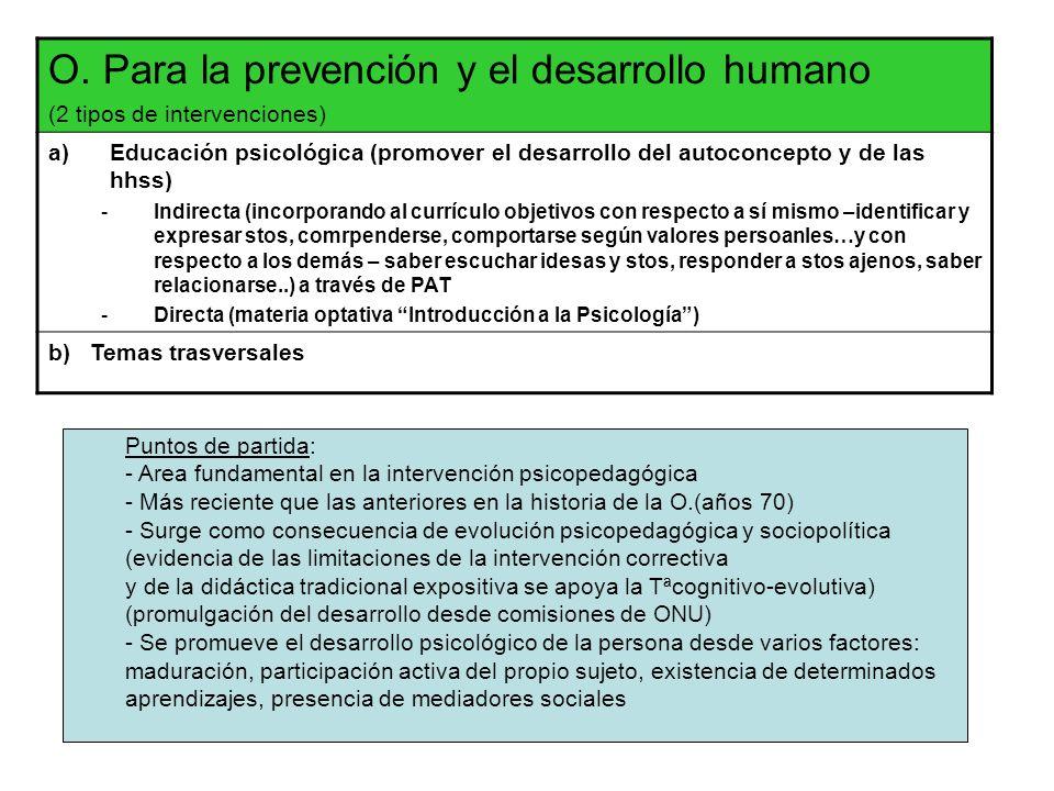 O. Para la prevención y el desarrollo humano (2 tipos de intervenciones) a)Educación psicológica (promover el desarrollo del autoconcepto y de las hhs