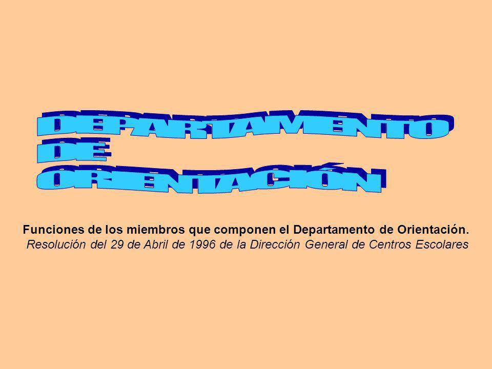 Funciones de los miembros que componen el Departamento de Orientación. Resolución del 29 de Abril de 1996 de la Dirección General de Centros Escolares
