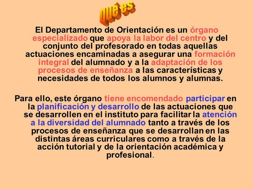 El Departamento de Orientación es un órgano especializado que apoya la labor del centro y del conjunto del profesorado en todas aquellas actuaciones e