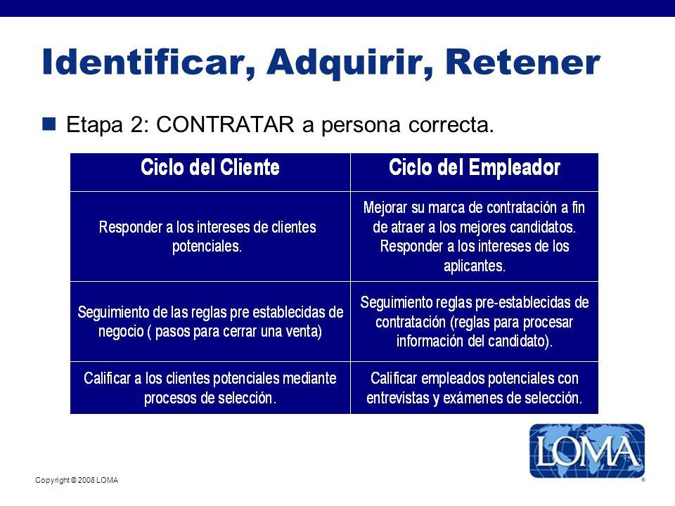 Copyright © 2008 LOMA Identificar, Adquirir, Retener Etapa 2: CONTRATAR a persona correcta.