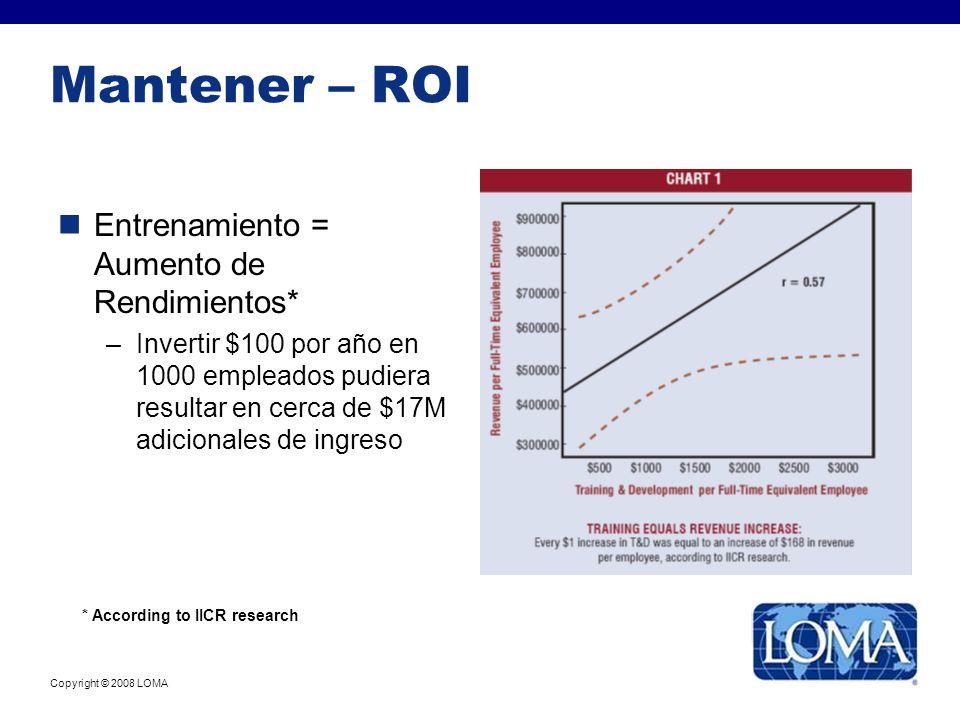 Copyright © 2008 LOMA Mantener – ROI Entrenamiento = Aumento de Rendimientos* –Invertir $100 por año en 1000 empleados pudiera resultar en cerca de $1
