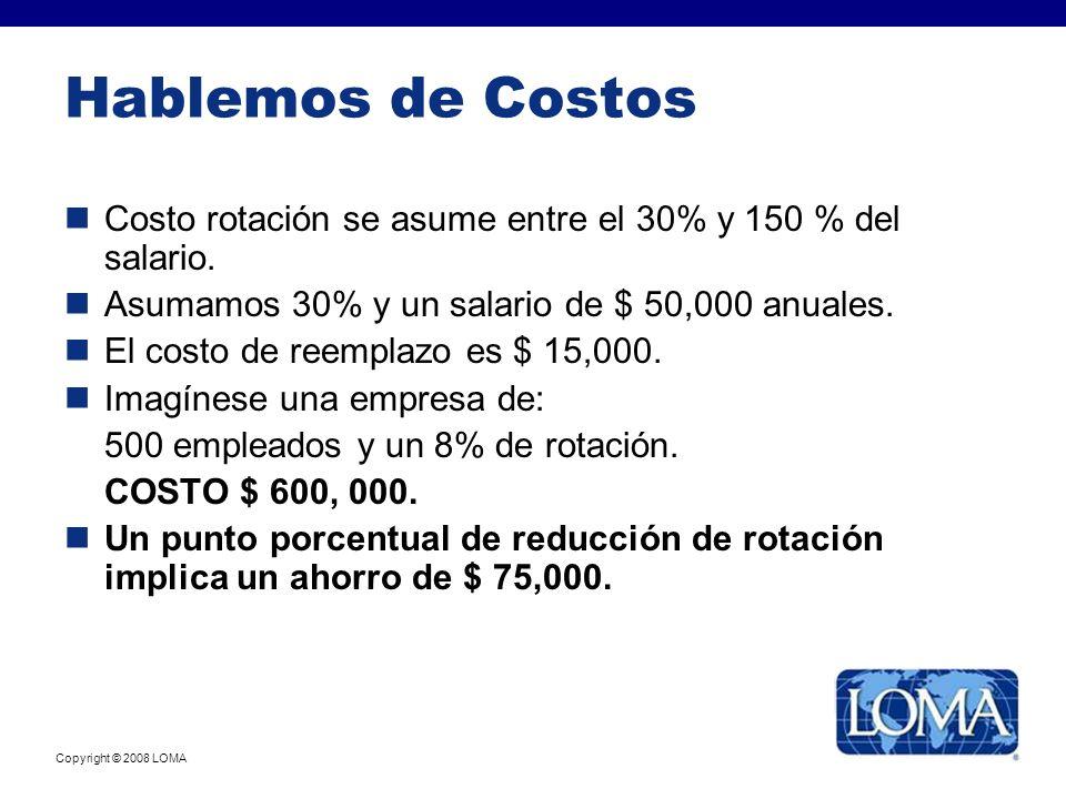 Hablemos de Costos Costo rotación se asume entre el 30% y 150 % del salario. Asumamos 30% y un salario de $ 50,000 anuales. El costo de reemplazo es $
