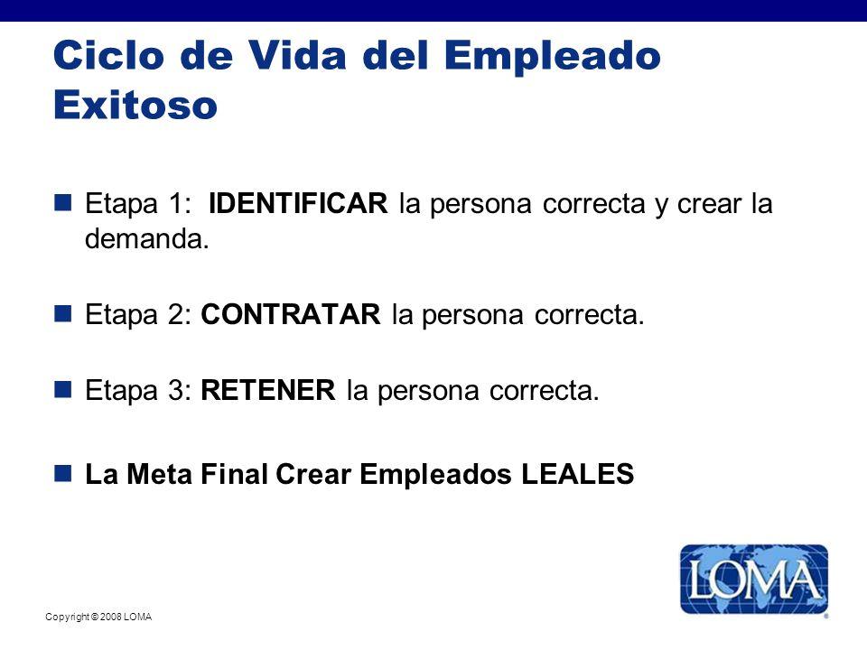 Copyright © 2008 LOMA Ciclo de Vida del Empleado Exitoso Etapa 1: IDENTIFICAR la persona correcta y crear la demanda. Etapa 2: CONTRATAR la persona co