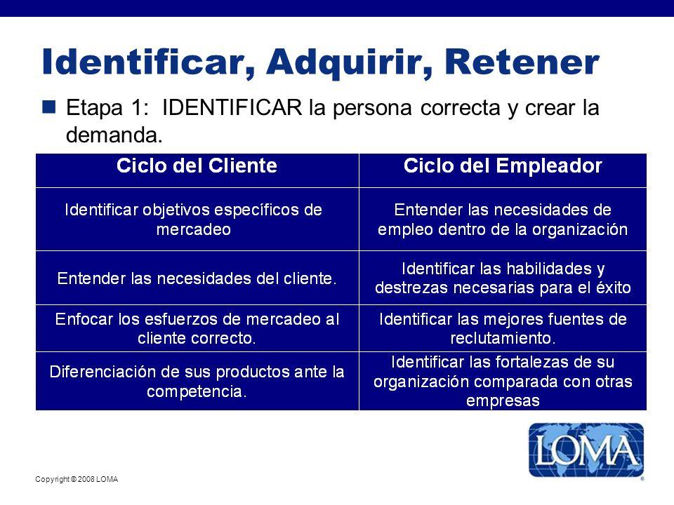 Copyright © 2008 LOMA Identificar, Adquirir, Retener Etapa 1: IDENTIFICAR la persona correcta y crear la demanda.