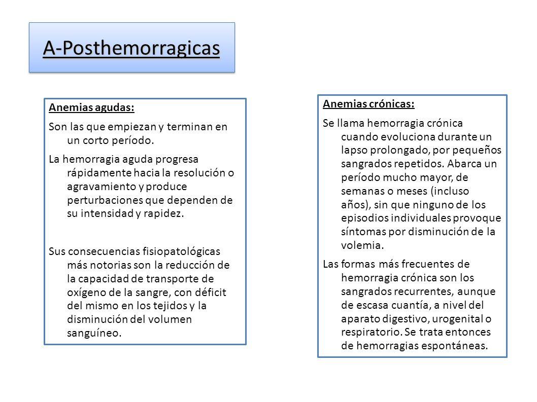 A-PosthemorragicasA-Posthemorragicas Anemias agudas: Son las que empiezan y terminan en un corto período. La hemorragia aguda progresa rápidamente hac
