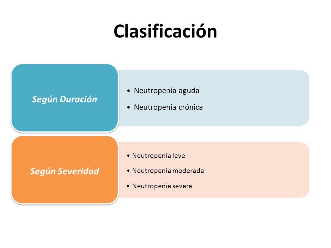 Clasificación Neutropenia aguda Neutropenia crónica Según Duración Neutropenia leve Neutropenia moderada Neutropenia severa Según Severidad