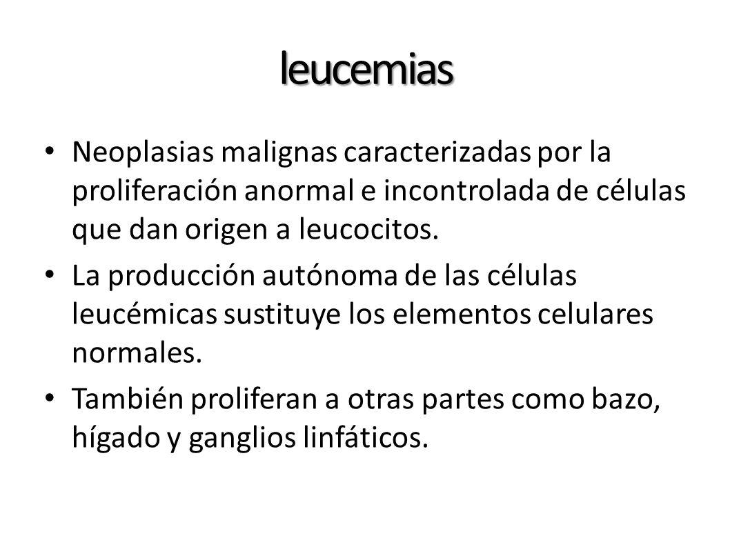 leucemias Neoplasias malignas caracterizadas por la proliferación anormal e incontrolada de células que dan origen a leucocitos. La producción autónom
