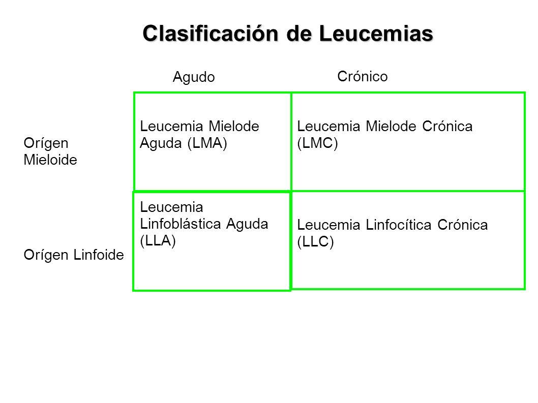 Clasificación de Leucemias Agudo Crónico Orígen Mieloide Orígen Linfoide Leucemia Mielode Aguda (LMA) Leucemia Linfoblástica Aguda (LLA) Leucemia Miel