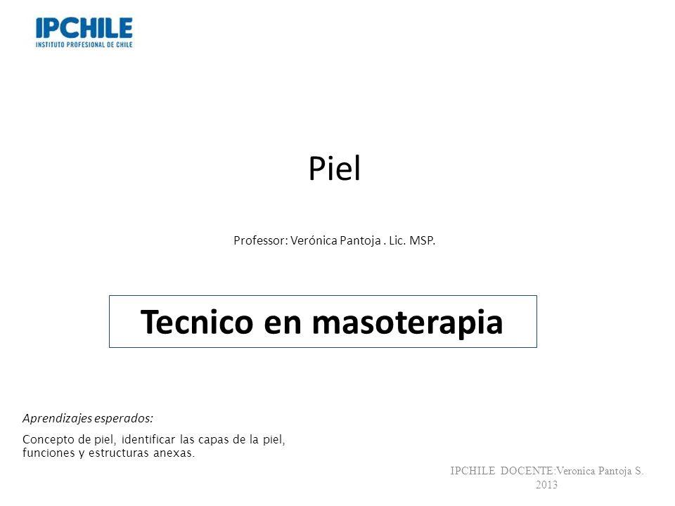 Piel Professor: Verónica Pantoja. Lic. MSP. Tecnico en masoterapia IPCHILE DOCENTE:Veronica Pantoja S. 2013 Aprendizajes esperados: Concepto de piel,