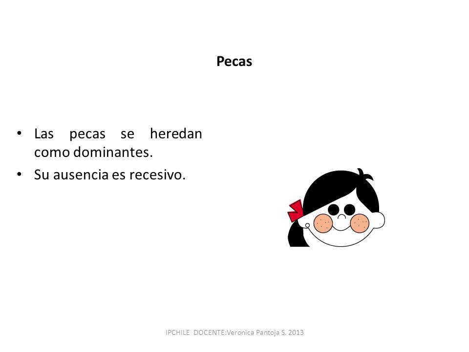 Pecas Las pecas se heredan como dominantes. Su ausencia es recesivo. IPCHILE DOCENTE:Veronica Pantoja S. 2013