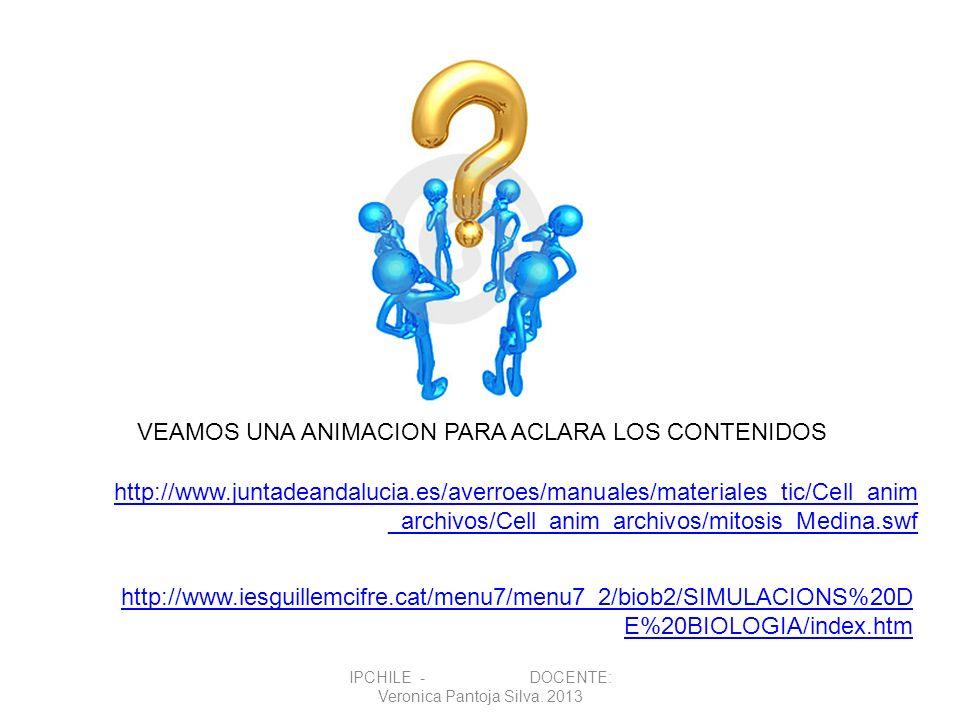VEAMOS UNA ANIMACION PARA ACLARA LOS CONTENIDOS http://www.juntadeandalucia.es/averroes/manuales/materiales_tic/Cell_anim _archivos/Cell_anim_archivos