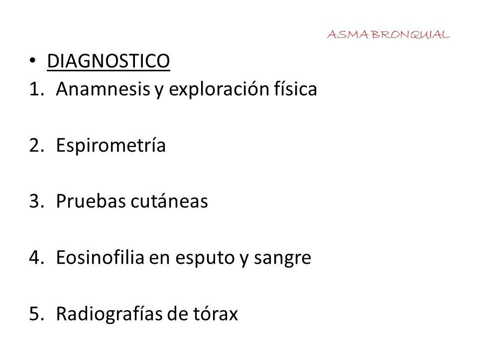 ASMA BRONQUIAL DIAGNOSTICO 1.Anamnesis y exploración física 2.Espirometría 3.Pruebas cutáneas 4.Eosinofilia en esputo y sangre 5.Radiografías de tórax