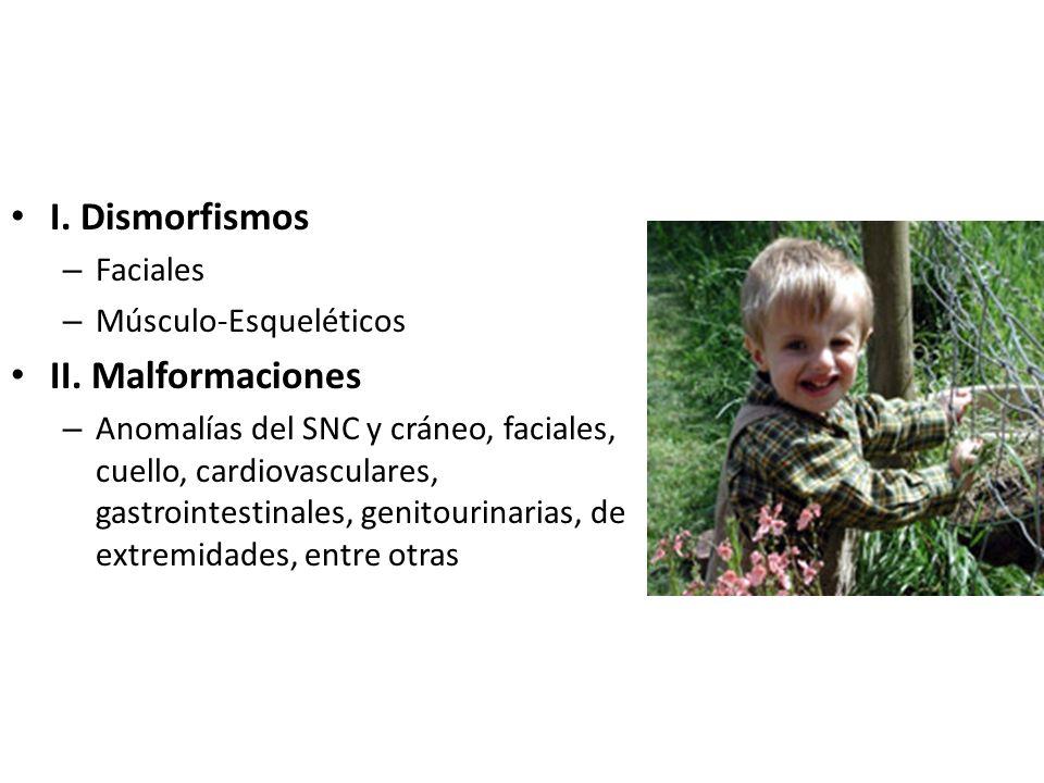 I. Dismorfismos – Faciales – Músculo-Esqueléticos II. Malformaciones – Anomalías del SNC y cráneo, faciales, cuello, cardiovasculares, gastrointestina