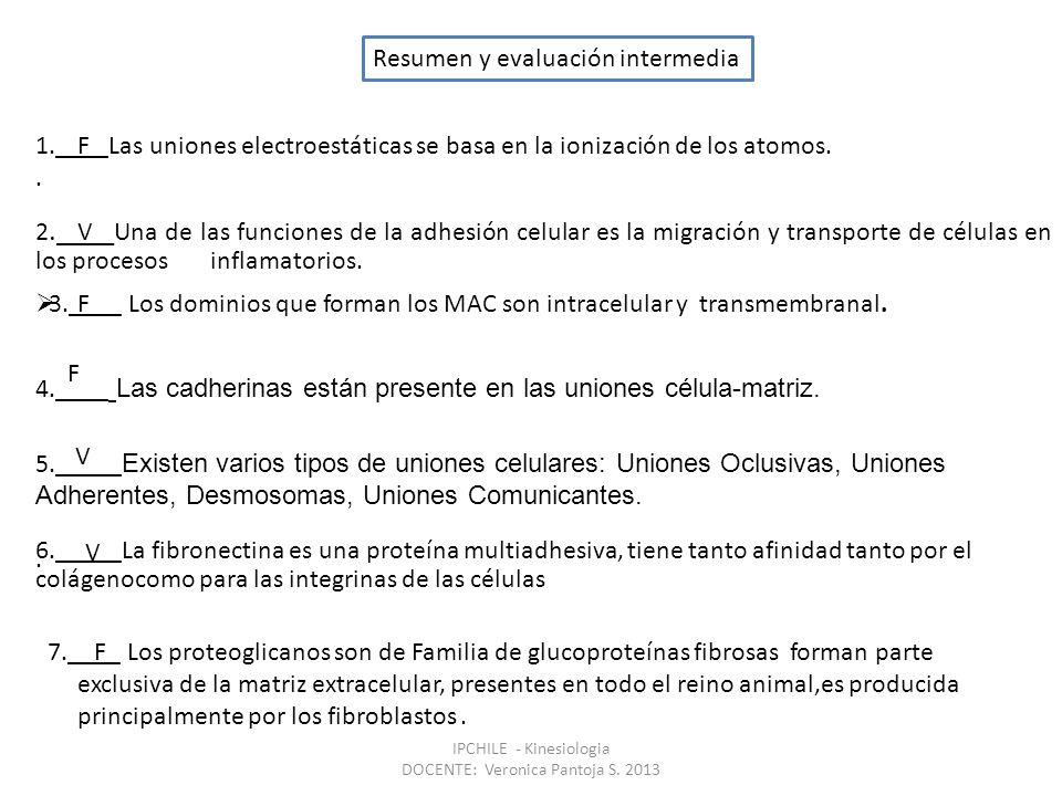 Resumen y evaluación intermedia 1.____Las uniones electroestáticas se basa en la ionización de los atomos..
