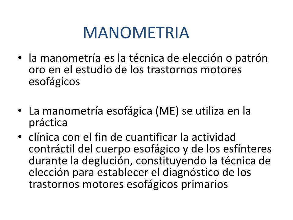 la manometría es la técnica de elección o patrón oro en el estudio de los trastornos motores esofágicos La manometría esofágica (ME) se utiliza en la