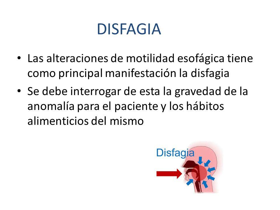 Las alteraciones de motilidad esofágica tiene como principal manifestación la disfagia Se debe interrogar de esta la gravedad de la anomalía para el p
